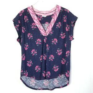 Lucky Brand   Boho Floral Short Sleeve Top Sz.XL